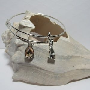 Egyptian Cat Adjustable Charm Bracelet Bangle